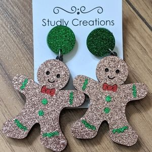 Studly Creations -  gingerbread glitter earrings